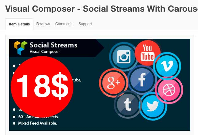 Visual Composer - Social Streams With Carousel,